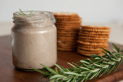 Jar of liver paste Royalty Free Stock Images