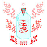 Jar of Love with creative lettering Happy. Stock Photo