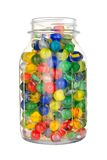 Jar of marbles Royalty Free Stock Images