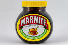 Jar of Marmite. CHESTER, UNITED KINGDOM - October 2nd 2016: Jar of Marmite on a plain background. Marmite is a food paste, made from yeast extract stock photos