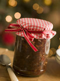 Jar of Mincemeat. On a table with spoon Royalty Free Stock Photography