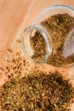 Jar of mixed herbs Stock Images