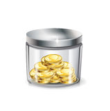 Jar of money; golden coins isolated Stock Image