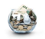 Jar of Money Isolated Royalty Free Stock Photo