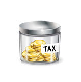 Jar of money; tax concept isolated Royalty Free Stock Photo