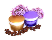 Jar natural cream sprig bloom purple white lilac roasted coffee. Beans cosmetic concept scrub set isolated on white background. Feminine, beauty Stock Photo
