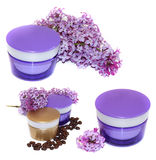 Jar natural cream sprig fresh bloom white and purple lilac persp Royalty Free Stock Image
