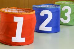 Jar with number one two three. Colored jar with number one two three Stock Photos
