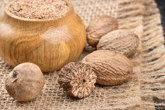 Jar with nutmeg powder Royalty Free Stock Images