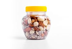 Jar of nuts Royalty Free Stock Photography