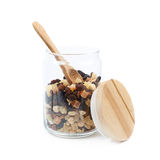 Jar of nuts and dried fruits stock images