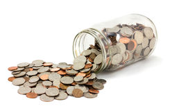 Free Jar Of Coins Spilled On White Background Royalty Free Stock Photo - 39610145