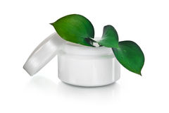 Free Jar Of Face Cream With Green Royalty Free Stock Image - 22987106
