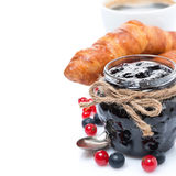 Jar Of Jam, Fresh Berries, Croissants And Coffee, Close-up Stock Image