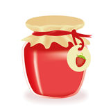 Jar Of Strawberry Jam Stock Photos