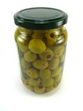 Jar of olives Royalty Free Stock Photos