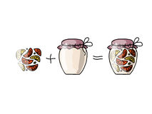 Jar with orange jam, sketch for your design Stock Images