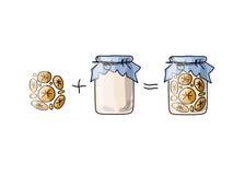 Jar with orange jam, sketch for your design Stock Image