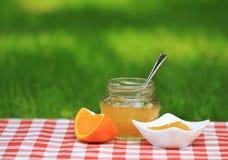 Jar of orange jam in the summer garden Royalty Free Stock Photos