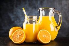 Jar of orange juice Royalty Free Stock Photography