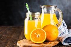 Jar of orange juice Royalty Free Stock Photo