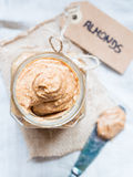 Jar of organic homemade almond butter Royalty Free Stock Photo