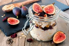 Jar of overnight autumn oats with figs, cranberries and walnuts Stock Photography