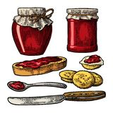 Jar with packaging paper, spoon, knife and slice of bread with jam. Royalty Free Stock Images