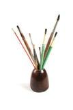 Jar of paint brushes Stock Photos