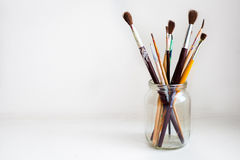 Jar of Paint Brushes Royalty Free Stock Photo