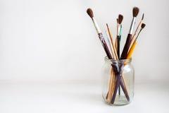 Jar of Paint Brushes Royalty Free Stock Photo