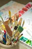 Jar of Paintbrushes Stock Photography