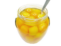 Jar of papaya in syrup Stock Image