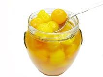 Jar of papaya in syrup Stock Photo