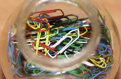 Jar of paperclips Royalty Free Stock Images