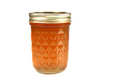 Jar of peach jam Royalty Free Stock Images