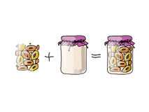Jar with peach jam, sketch for your design Royalty Free Stock Photography