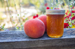 Jar of peach jelly with peaches. A jar of peach jelly with ripe peaches royalty free stock images
