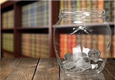 Jar. Pension currency investment coin superannuation glass royalty free stock photos