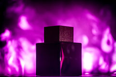 The jar of perfume on smoke, black background. The jar of perfume on a background of smoke, black background Stock Photos