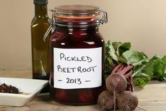 Jar of pickled beetroot Stock Image