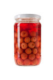 Jar of Pickled Cherries Royalty Free Stock Photos