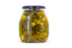 Jar with pickled cucumbers Royalty Free Stock Images