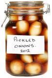 Jar of pickled onions Stock Photo