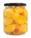 Jar of pickled patison squash Royalty Free Stock Image