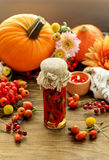 Jar of pickled red peppers and beautiful autumn flowers and plan Stock Photos