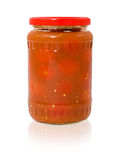 Jar of pickled tomatoes Royalty Free Stock Images