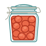 Jar with pickled tomatoes. Vector illustration of pickled tomatoes in glass jar Royalty Free Stock Image