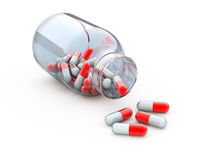 Jar with pills. 3d rendered illustration Stock Photos