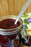 Jar of plum jam Royalty Free Stock Photo